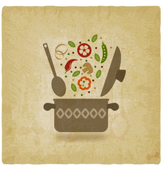 Pot with vegetables vintage background vector