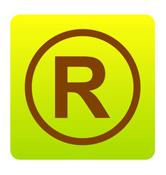 Registered trademark sign brown icon at vector