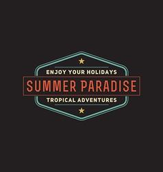 Retro summer vintage label on dark background vector