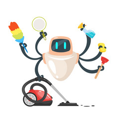robot assistant domestic cleaner robot vector image