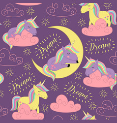 Seamless pattern with sleeping unicorn vector