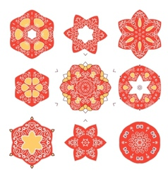 set of vintage icons elements with floral design vector image