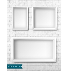 Set of white frames on a brick wall for your vector image