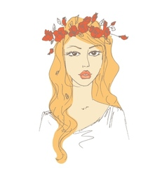 sketch of a woman with flowers in her hair vector image vector image