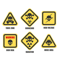 Skull signs death notice symbols set vector
