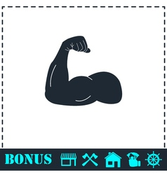 Strong flex arm icon flat vector image vector image