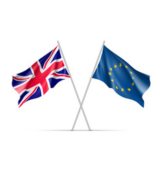 The united kingdom and european union waving flags vector