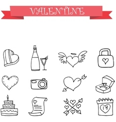 Valentine element with hand draw vector