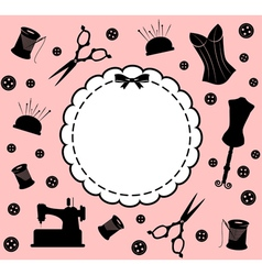 Vintage sewing related elements vector image vector image