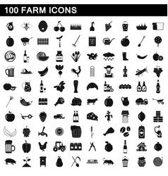 100 farm icons set simple style vector image vector image