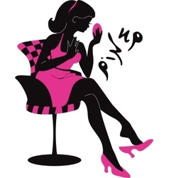 Pin up woman silhouette vector