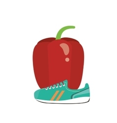 bell pepper and sneaker icon vector image