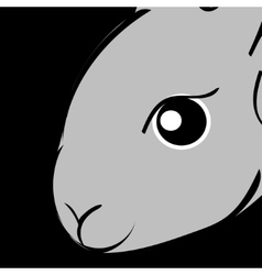 Grey easter rabbit black background Animal vector image