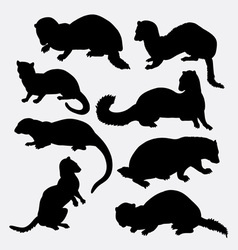 Weasel wild animal silhouette vector image