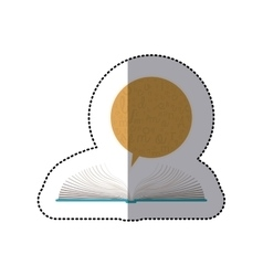 Middle shadow sticker with open book and dialogue vector