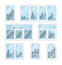 windows with city vector image