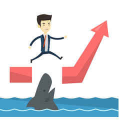 business man jumping over ocean with shark vector image