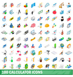 100 calculator icons set isometric 3d style vector image