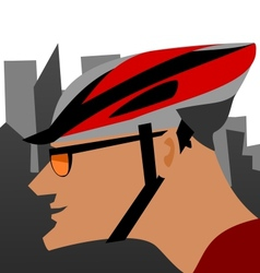 Biker and the city vector
