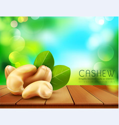 Group of cashew nuts lying on a wooden table on vector