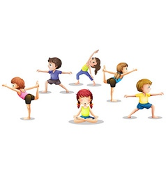 Children stretching vector image