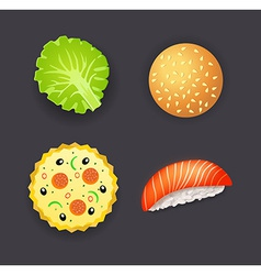 Set of dinner pizza burger sushi and salad leaf vector