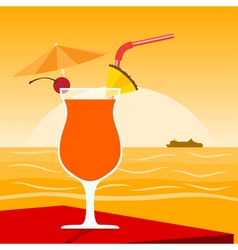 Coctail on beach 2 vector