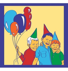 Three boys with balloons laugh vector