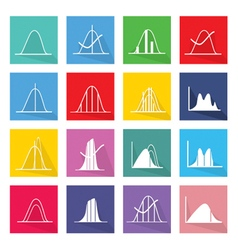Collection of 16 normal distribution curve icons vector