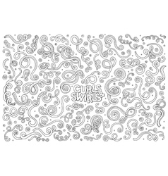 Hand drawn doodle cartoon set of curls and vector