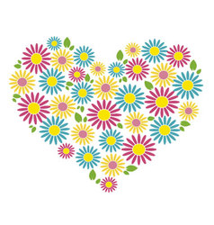 Heart of colored flowers vector