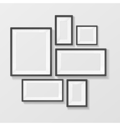 Black picture frame template set vector