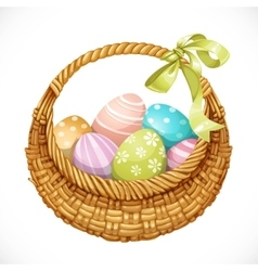 Realistic round wicker basket with easter eggs vector
