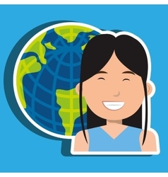 Avatar with planet earth isolated icon design vector