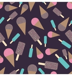 Chocolate and strawberry icecream seamless pattern vector image