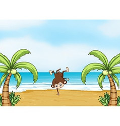 A monkey dancing on a beach vector image