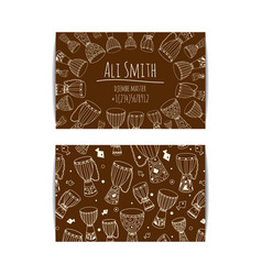African djembe drum visit card vector