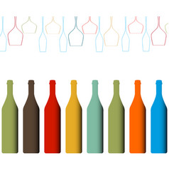 Alcoholic bottles background vector