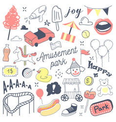 amusement park freehand hand drawn doodle vector image
