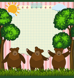 border template with three bears in garden vector image