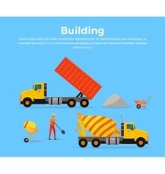 Building concept banner flat design vector