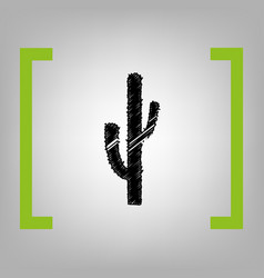 Cactus simple sign black scribble icon in vector