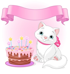 Cat Birthday Celebrating vector image vector image