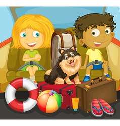 Children and dog riding in car vector