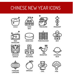 Chinese new year outline icons vector