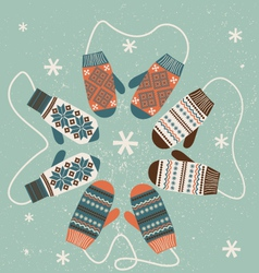 Christmas decoration with mittens vector image