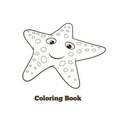 Coloring book starfish fish cartoon vector