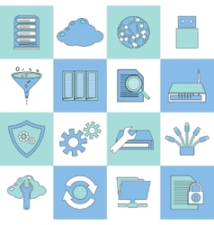 Database icons flat line vector image vector image