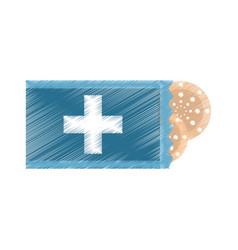 Drawing package with medical band aid vector