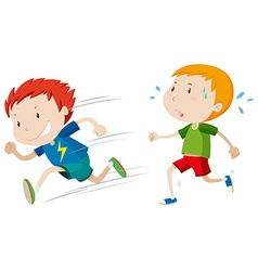 Fast runner and slow runner vector image